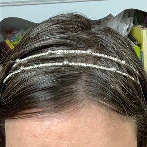 Silver & Rhinestone Double Row Headband